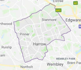 map of Harrow showing area covered